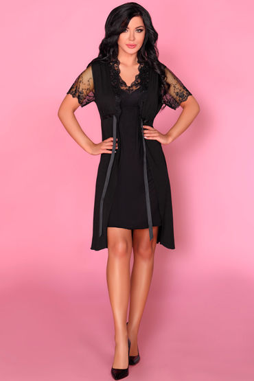 Livia Corsetti Zorda, черный Пеньюар, сорочка и трусики двухсторонний фаллоимитатор double header bender 12 чёрный