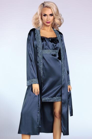 LivCo Corsetti Yesenia, синий Комплект из пеньюара, сорочки и трусиков livia corsetti andrea комплект эротического белья