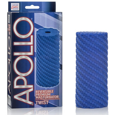 California Exotic Apollo Reversible Premium Masturbator Twist, синий, Двусторонний мастурбатор